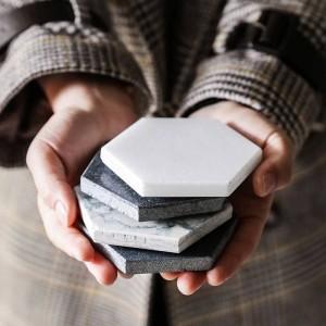 高級大理石コースターセラミックホーム六角形プレースマットマット用ボウルカップワインドリンクコーヒーマグテーブル装飾ノンスリップマット