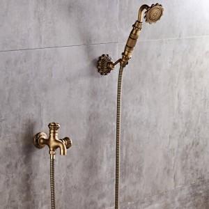 高級新しいアンティーク真鍮降雨量シャワーセット蛇口+浴槽ミキサータップ+ハンドヘルドシャワー壁掛けXT342