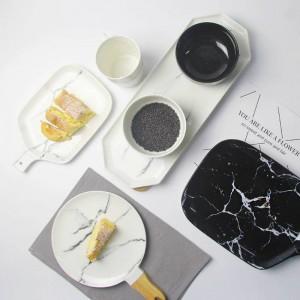 大理石の穀物プレートグレーのヒントセラミック皿ブラックホワイト大理石のテクスチャセラミック食器磁器プレート皿