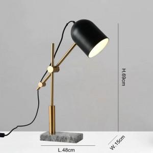 モダンなリビングルームの寝室の研究室の照明装飾テーブルライトブラックメタルランプシェード読書ランプ用大理石テーブルランプ