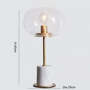 大理石のテーブルランプモダンゴールドメタルランプボディデスクライトリビングルームの寝室アイアンアートクリアガラスランプシェードホーム読書灯
