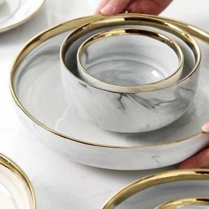 大理石のプノンペン陶磁器洋食器セットライスボウル家庭用ディープスーププレート皿スープボウル