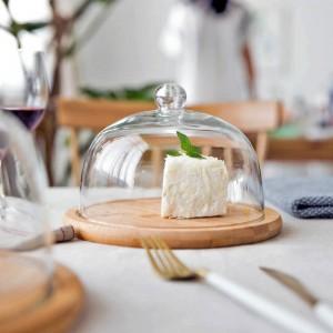 ガラスカバースナックプレートフルーツトレイデザートプレート点心皿とMDZF甘いケーキケーキトレイ