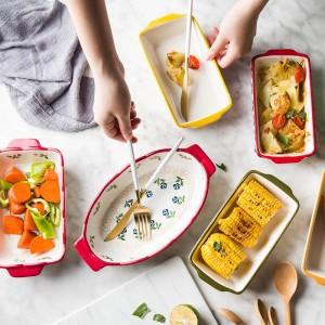 MDZF SWEETHOMEセラミックベーキング皿焙煎ラザニアパン長方形皿耐熱皿