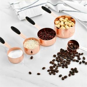 計量スプーンステンレス鋼スクープコーヒー豆粉末小麦粉スプーンでハンドル耐久性ベーキングスプーンキッチンツールセット5ピース