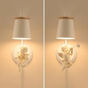 現代のledエンジェルウォールランプ子供ランプ燭台北欧照明寝室ランプ結婚式オフィスledウォールライトベッドサイドランプ
