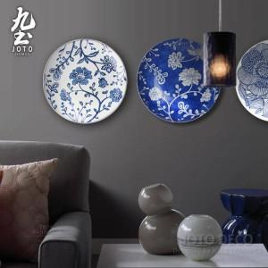 現代壁画壁掛け装飾プレートシンプルな幾何学模様ブルーとホワイト/ブラックガーデンスタイル家の装飾セラミック工芸