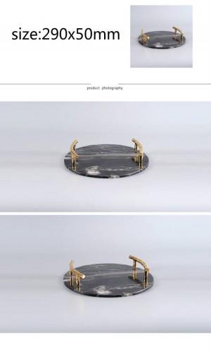 現代の天然大理石ラウンドトレイヴィラホテルモデルルーム黒大理石装飾トレイ装飾
