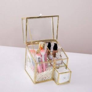 多機能化粧品収納ボックスフリップダストガラスボックス口紅香水仕上げボックスデスクトップ化粧品収納