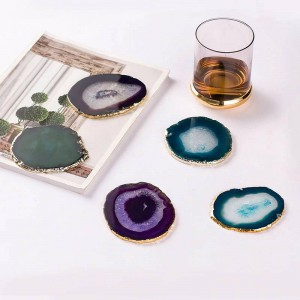 天然瑪瑙ピースゴールドエッジコースターコーヒーカップパッドジュエリーディスプレイサポートサイズ8〜10センチ
