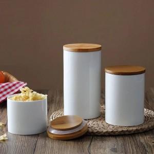 ナチュラルデザインセラミックシーリングポット収納ボトルジャー竹カバー付きキッチン食品茶コーヒー穀物とスパイス