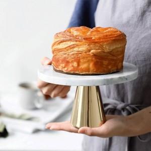 天然大理石パレットケーキデザートハイフィートプレート結婚式の誕生日デザートディスプレイ棚の装飾デザートトレイ金属ベース