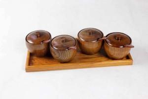 天然木スパイス瓶ソルト瓶収納キッチンセットクリエイティブ調味料ボックス付きトレイスプーン