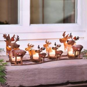 新古典主義のキャンドルホルダー鉄アートエルクキャンドルライトカップライトライトクリスマスの装飾装飾工芸品燭台像
