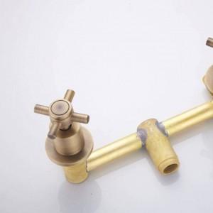 新しい浴槽の蛇口アンティーク真鍮シャワーセット浴槽ミキサータップダブハンドルデュアルコントラクトシャワー壁掛け用浴室XT 370