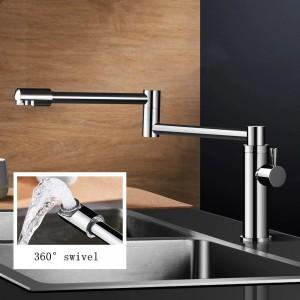 新しい真鍮キッチン蛇口シングル冷水タップキッチン用シングルレバーウォーターミキサー360回転シンクポットフィラー蛇口L-888