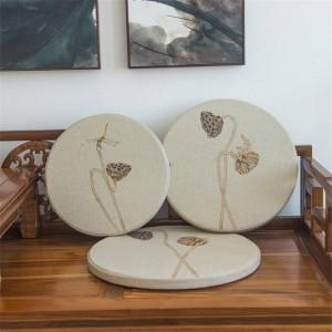 新しいリネン生地スポンジクッションクリエイティブ蓮の葉ラウンドクッション出窓パッドパッド無垢材ソファー装飾クッション