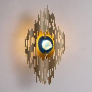 新しい古典的な瑪瑙壁ランプメッキ金属ゴールド壁掛けライトホームホワイエ廊下照明G9 led壁取り付け用燭台