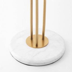新しいクラシッククリエイティブ3ヘッドフロアランプメッキゴールドメタル光沢ホテルヴィララグジュアリーデコledスタンディングライト大理石