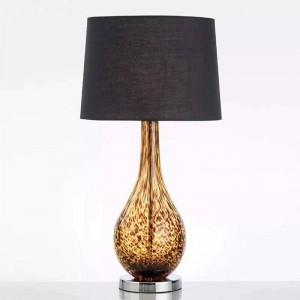 新しい古典的なテーブルランプ寝室のベッドサイドの照明ガラスボディアメリカの布美術研究読書ランプE 27ライトLED照明器具