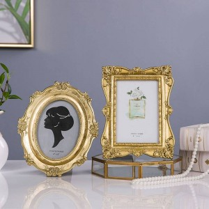 新しいフレンチライト高級ゴールデン彫刻ヴィンテージフォトフレーム額縁フォトフレーム柔らかい飾り装飾美容