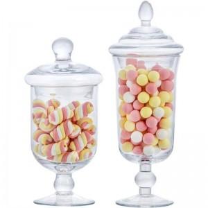 新しいガラスキャンディー瓶クリエイティブで蓋収納タンク収納ボトル結婚式デザートアイスクリームカップ窓装飾缶