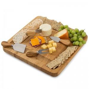 新しい天然竹チーズボードカトラリーナイフセットスライドアウト引き出し木製の大皿4木製カッター付き小さなカッティングナイフ