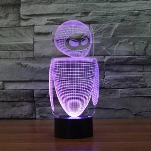 新しいロボットカラフルな3d ledナイトライト7色自動変更3dイリュージョンランプキッズ/ベビーベッドルームベッドサイドテーブルランプ用睡眠