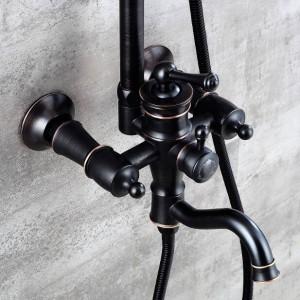 新しいシャワー蛇口シングルホルダーデュアルコントロールバスタブ蛇口シングルハンドルトップレインシャワー付きスライドバーウォーターミキサータップXT373