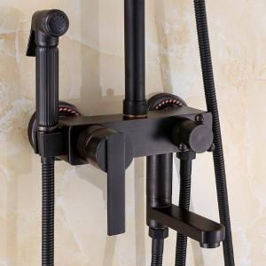 """8 """"雨シャワーヘッド/回転浴槽の口/ハンドシャワー/ビデ噴霧器の頭部XT350が付いている壁のシャワーのミキサーのコックの新しい単一のハンドル"""