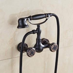 バスタブ蛇口ヨーロッパレトロアメリカンアンティーク銅シャワーセット黒壁マウンターハンドシャワーバスタブ蛇口XT389