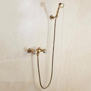 ヨーロッパのレトロアメリカンウォールマウントアンティーク銅/黒シャワーセット黒ハンドシャワー浴槽の蛇口シャワーセットXT 392