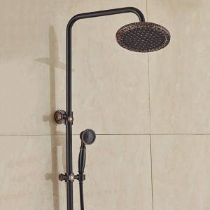 """新しい壁に取り付けられた8 """"雨浴室のシャワーセット蛇口黒青銅のシグルハンドルシャワーホットとコールドタップHandshower XT 395"""