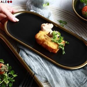 北欧ブラックゴールドセラミックステーブル収納プレート流行シックなエレガントな高級フルーツジュエリーオフィスデスク収納オーガナイザー装飾