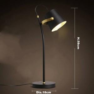 北欧のブリーフモダンテーブルランプクリエイティブデスクライトアイアンアートブラックE27 ledランプ研究寝室の照明器具ホーム読書ランプ