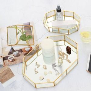 北欧ガラスジュエリーボックスクリエイティブ化粧デスクトップリング収納トレイルーム装飾トレイディスプレイボックス