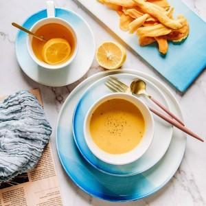 北欧グラデーションブルーカラーセラミックプレートボウルカップセットフルーツディッシュデザートプレートクリエイティブトレイフラット食器セット用食品皿