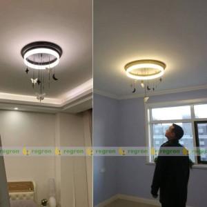 北欧LEDシーリングライトAC85-265V現代クリエイティブエンジェルムーン子供部屋ラウンドシーリングライト寝室の装飾ライト