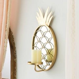 北欧の高級装飾的なガラスミラーの装飾家の装飾パイナップルの壁掛け燭台
