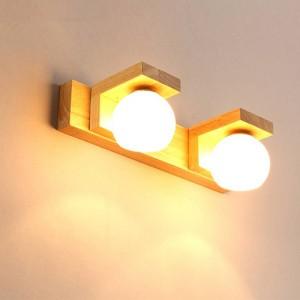 北欧ミラーヘッドライトシンプルモダン防水ガラスハングランプウッドledウォールランプバスルームライトトイレ吊り照明器具