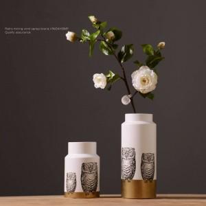 北欧モダンセラミッククリエイティブフクロウ花瓶フラワーアレンジメントルームパーソナリティホームインテリア装飾品