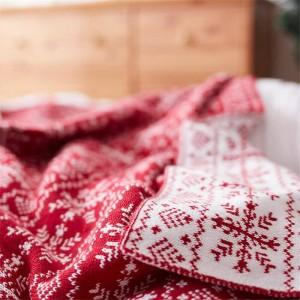 北欧スノーフレークニット毛布赤い糸毛布ベッドシーツエアコンスロー毛布用ベッドソファクリスマス装飾