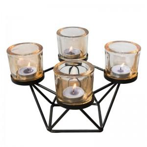 北欧スタイルキャンドルホルダー幾何学的鉄アートガラス燭台アロマキャンドルベースキャンドルライトディナーナイトライトの装飾