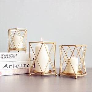 北欧スタイルキャンドルホルダーゴールド幾何学的な金属鉄アートキャンドルベースレストランパーティーナイトライトデコレーション装飾工芸品