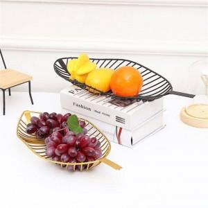 北欧スタイル鉄トレイ葉型フルーツバスケットシンプルなキャンディースナック収納バスケットキッチンリビングルームテーブルフルーツプレートの装飾
