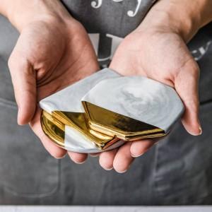 北欧スタイルの大理石のセラミックコースタープノンペンコースター鍋つかみ透かしマグコースターグルメ装飾