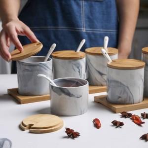 北欧スタイルの大理石のセラミック調味料入れ3ピース調味料ボックス塩シェーカー調味料収納防湿スパイスセット