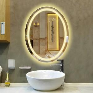 オーバルバスルームLEDランプミラー壁掛け浴室ライト化粧鏡現代のタッチスイッチ風呂ミラーmx 12151130