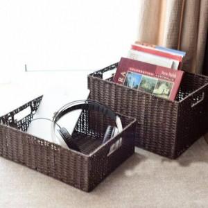 パスタと籐織り収納バスケット和風収納ボックスマガジン仕上げボックス収納バスケットプラス大引き出し