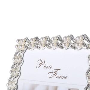 銀メッキ合成ダイヤモンドとパールとガラス製のテーブルトップディスプレイ用額縁